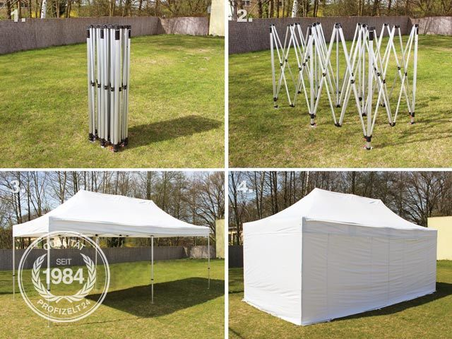 faltzelt pavillon 3x6 wei partyzelt sommerzelt klapp zelt 400g m plane ebay. Black Bedroom Furniture Sets. Home Design Ideas