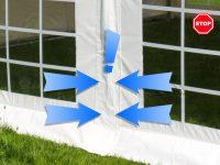 Windstop-Mechanismus bei Partyzelten