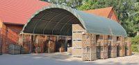 Container-Überdachung auf einen Bauernhof.