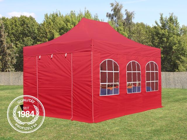 faltzelt alu 3x4 5m faltpavillon klappzelt gartenpavillon mit fenstern rot ebay. Black Bedroom Furniture Sets. Home Design Ideas