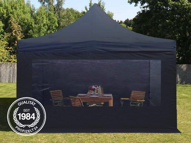 4x4 m faltpavillon partyzelt pavillon alu in schwarz panoramafenster unterstand ebay. Black Bedroom Furniture Sets. Home Design Ideas