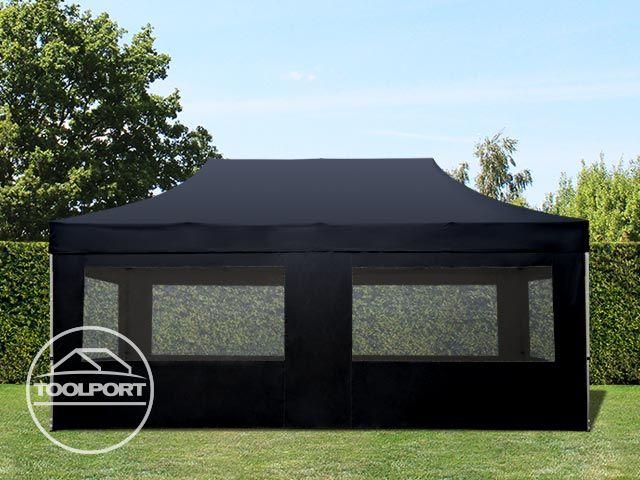 3x6m faltpavillon faltzelt klappzelt mit 4 seitenteilen 100 wasserdicht schwarz ebay. Black Bedroom Furniture Sets. Home Design Ideas