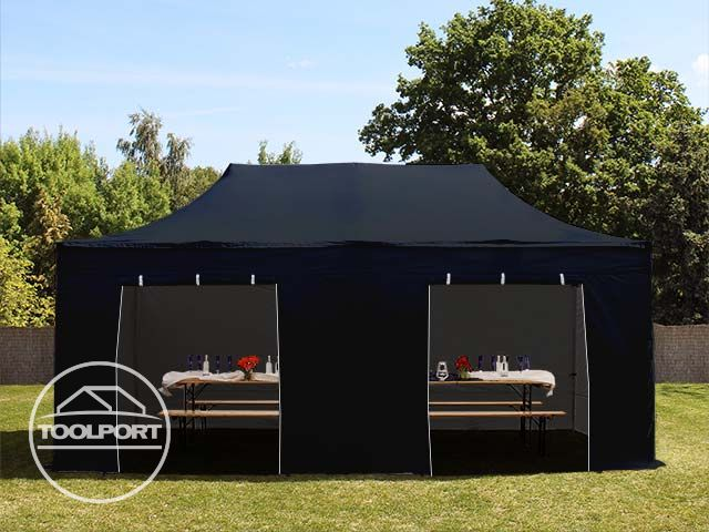 3x6m faltpavillon ca 400g m partyzelt gartenzelt mit seitenteilen in schwarz ebay. Black Bedroom Furniture Sets. Home Design Ideas