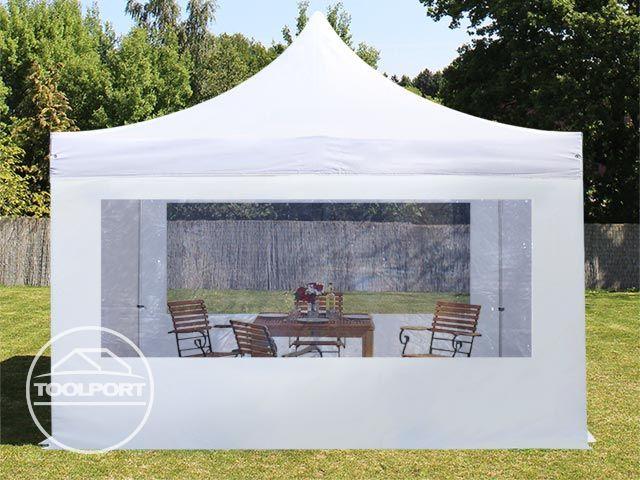 4x4 m faltpavillon partyzelt pavillon alu in wei mit panoramafenster unterstand ebay. Black Bedroom Furniture Sets. Home Design Ideas