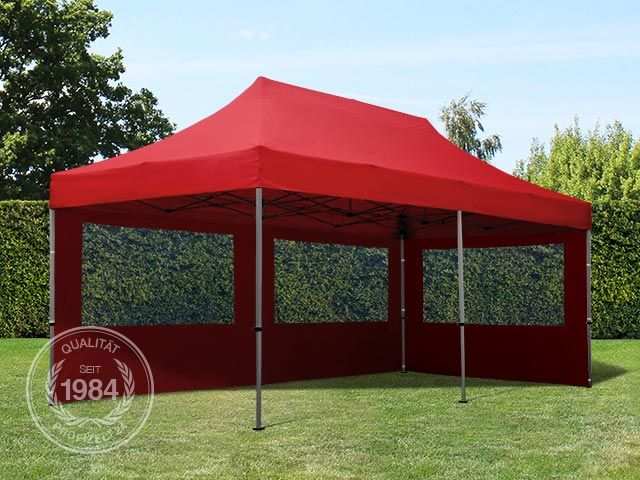 3x6m faltpavillon faltzelt klappzelt mit 2 seitenteilen 100 wasserdicht rot. Black Bedroom Furniture Sets. Home Design Ideas