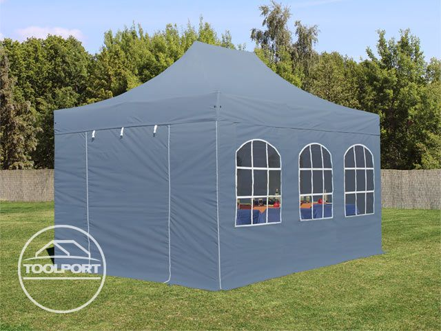faltzelt alu 3x4 5 m faltpavillon klappzelt pavillon mit fenstern dunkelgrau 4260497046226 ebay. Black Bedroom Furniture Sets. Home Design Ideas