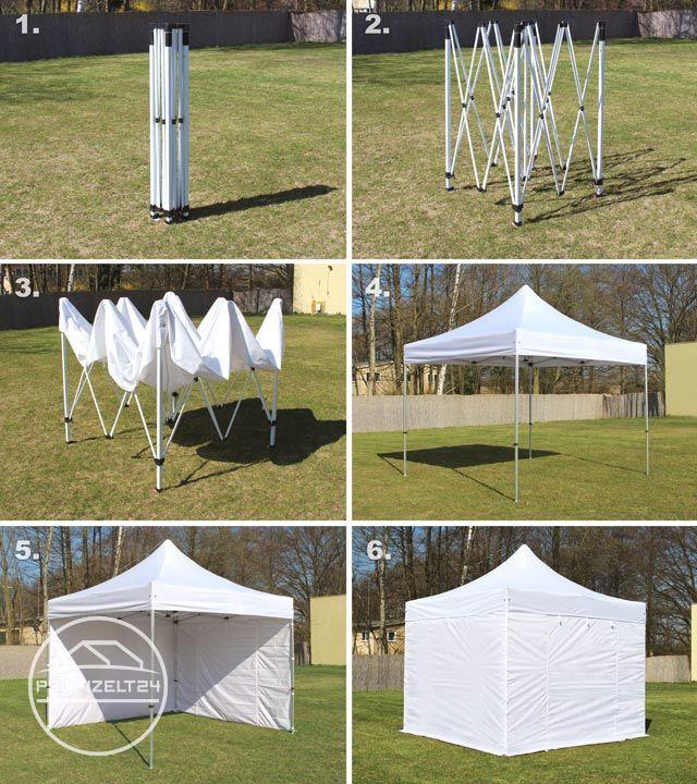 Collage: Faltpavillon-Aufbau in vier Schritten