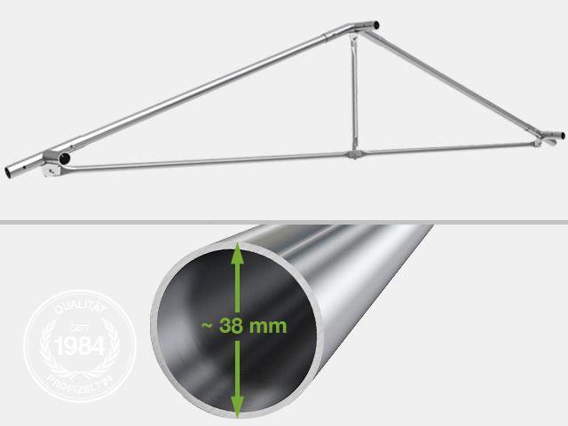 Aufgebaute Stahl-Gestänge-Konstruktion eines Lagerzeltes