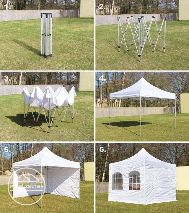 Aufbau eines Faltpavillons in vier Schritten