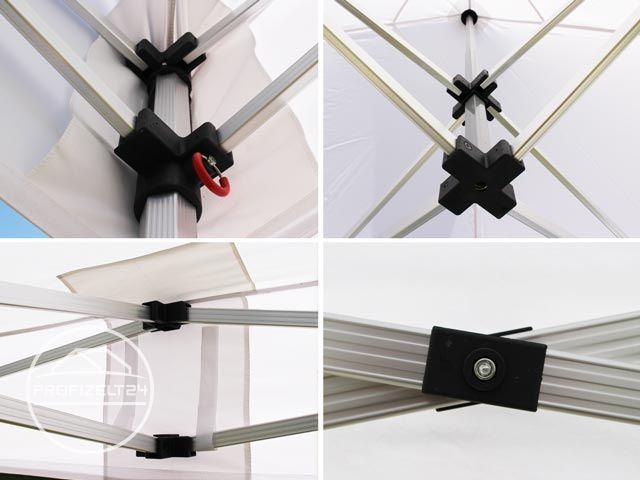 Collage von verschiedenen Verbindern am Gestänge des Faltpavillons