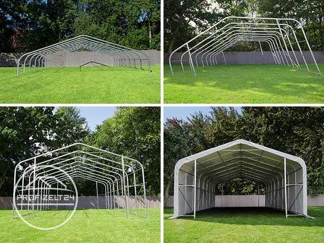 Collage: Aufbau einer Zelthalle in vier Schritten