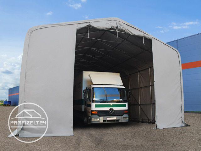 Zelthalle mit Fahrzeugen drin
