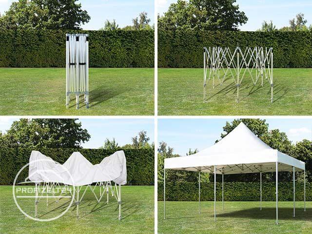 Aufbau eines Faltpavillons in vier Schritten.