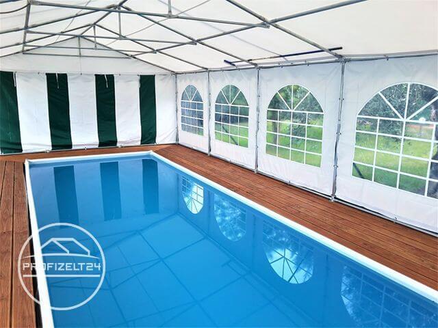 PVC Zelt als Schutz für einen Swimmpool