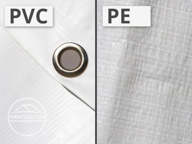 PE- und PVC-Material nebeneinander gestellt