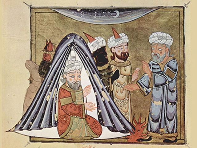 Historische Malerei mit einem Zelt drauf.