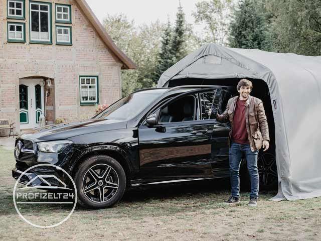 Zwei Autos in einer Zeltgarage: Kein Problem.