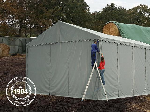 Lagerzelte mit einer Seitenhöhe von 4 m bieten viel Raum zum Lagern.
