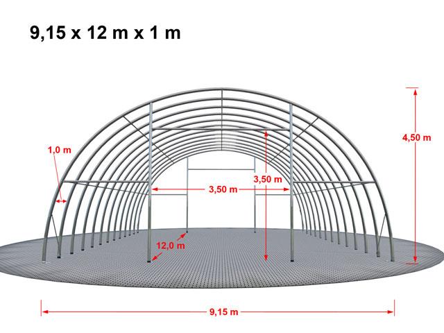 Aufmaßzeichnung einer Rundbogenhalle mit 12 m Länge.