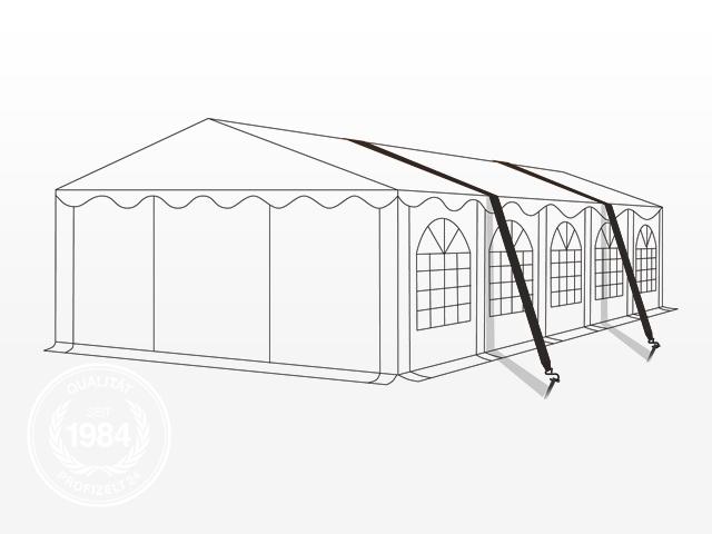 Spanngurte, die über das Zelt gezogen sind.