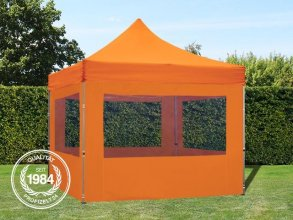 3x3 m Faltpavillon ECONOMY Alu 32 mm, Seitenteile mit Panoramafenstern, orange