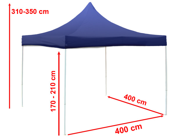 4x4 m faltpavillon partyzelt pavillon alu gartenzelt unterstand in blau ebay. Black Bedroom Furniture Sets. Home Design Ideas