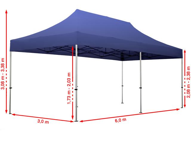 3x6m faltpavillon faltzelt klappzelt mit 2 seitenteilen 100 wasserdicht blau ebay. Black Bedroom Furniture Sets. Home Design Ideas