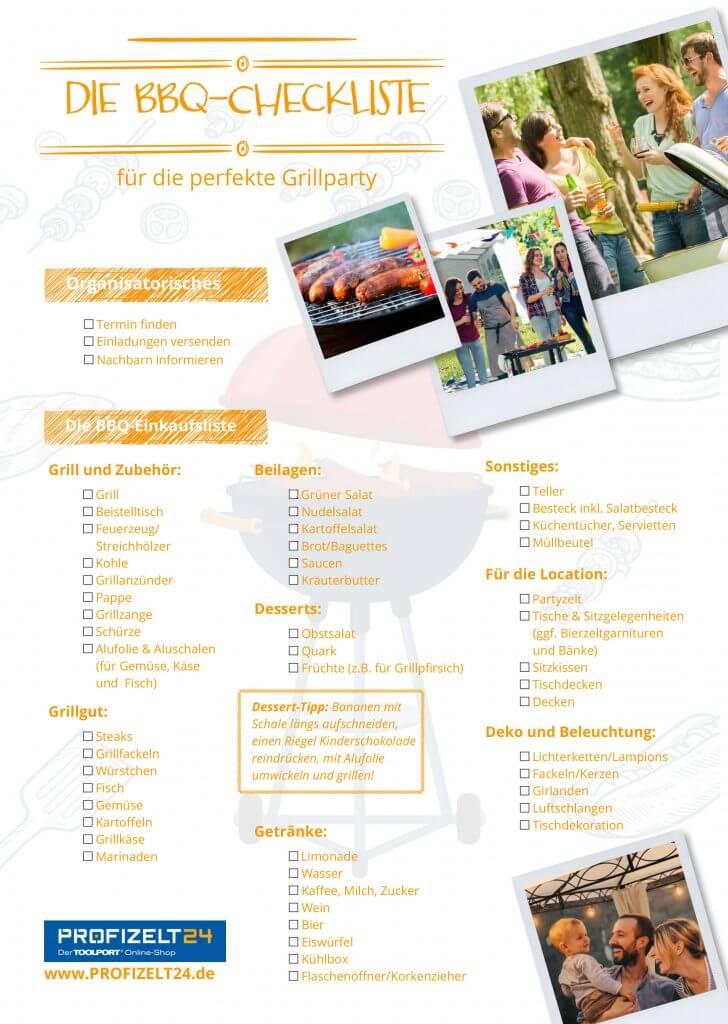 Checkliste und Einkaufszettel für das Grillfest