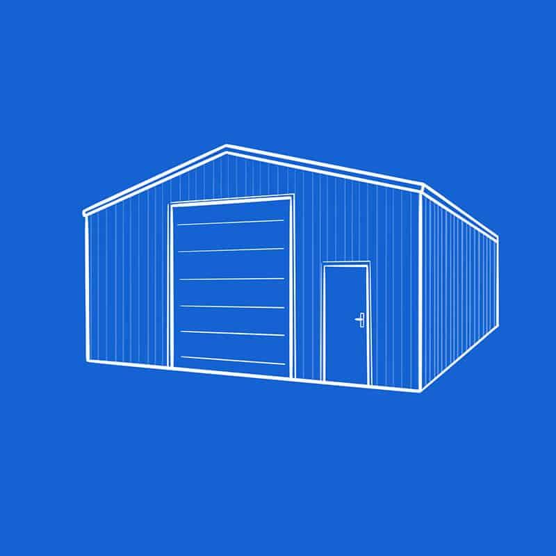 Feste Lagerhalle aus Stahl oder Blech