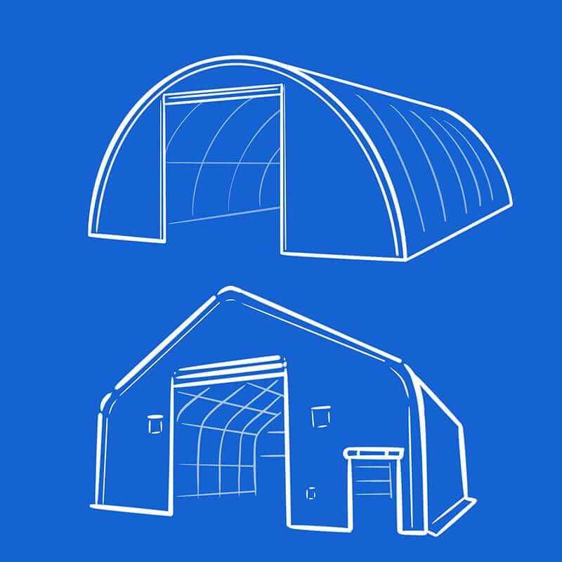 Verschiende Typen von Zelthallen: Rundbogen und Satteldach