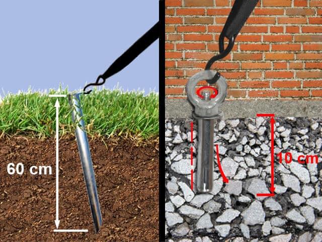 Profi-Erdnägel und Profi-Erdanker dienen der zusätzlichen Befestigung auf verschiedenen Untergründen