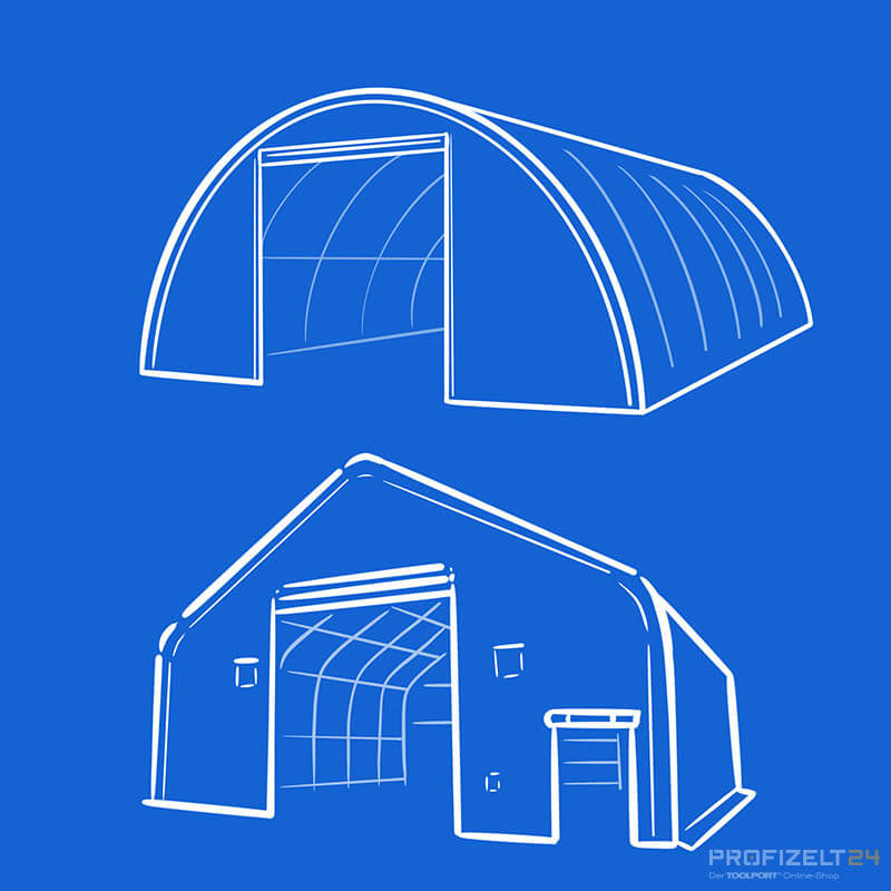 Rundbogenzelthalle und Satteldachzelthalle