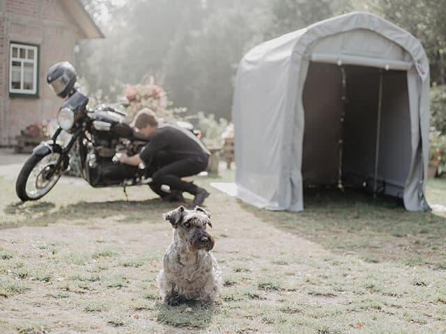 Zeltgarage fürs Motorrad