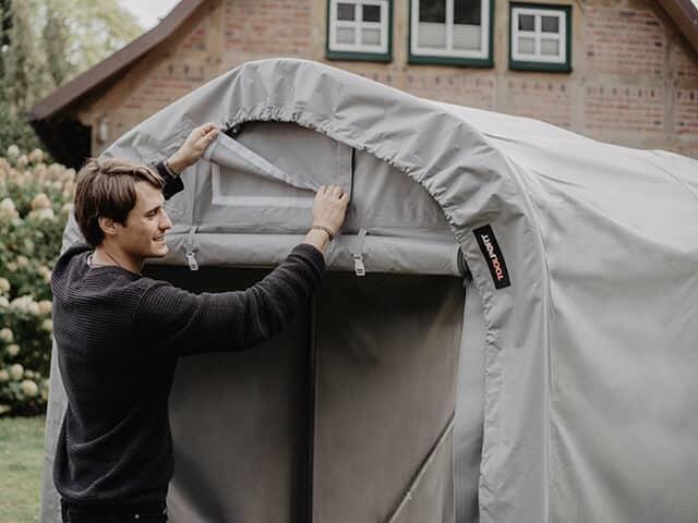 Zeltgarage mit PVC Plane