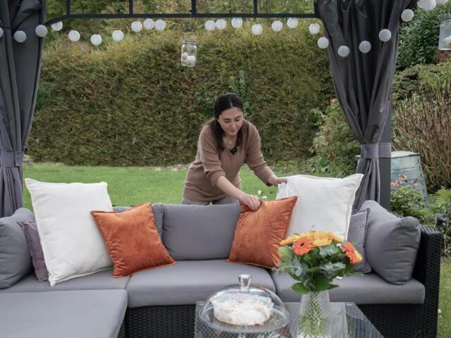 Dekoration des Gartenpavillons