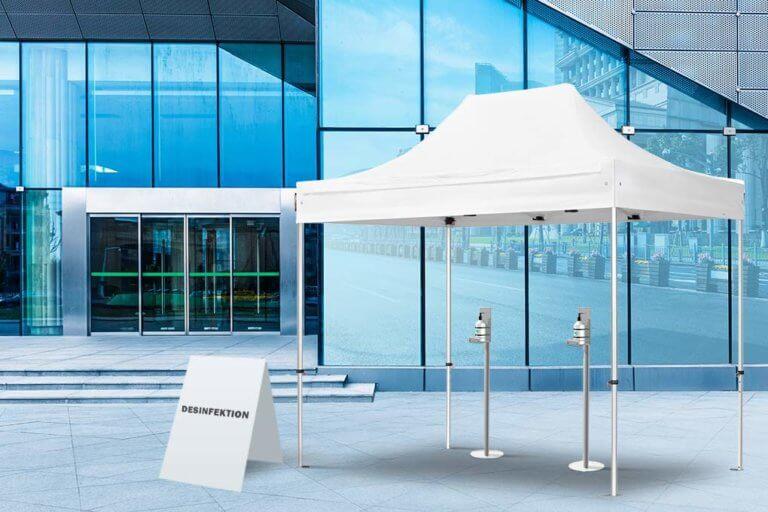 Faltpavillons als Desinfektions-Zelte während der Corona-Krise