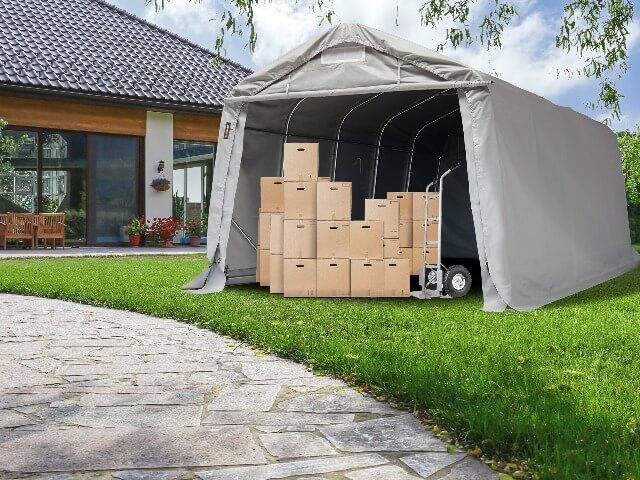 In einer Zeltgarage sicher Möbel einlagern
